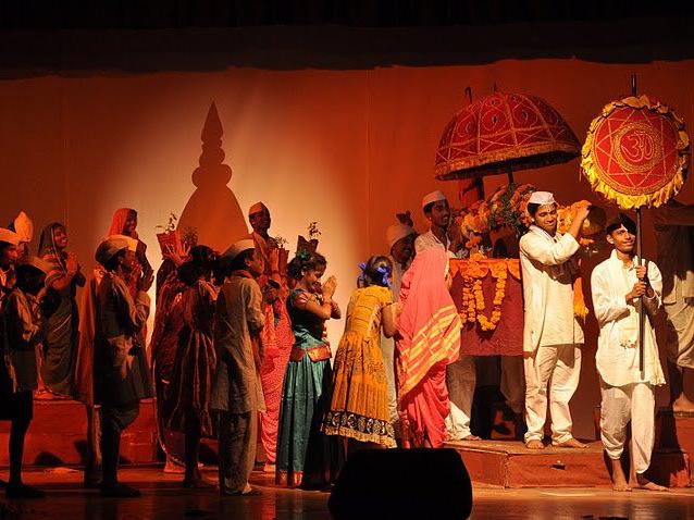 A scene depicting the Pandharpur yatra in Abhijeet Khade's Thararli Veet.